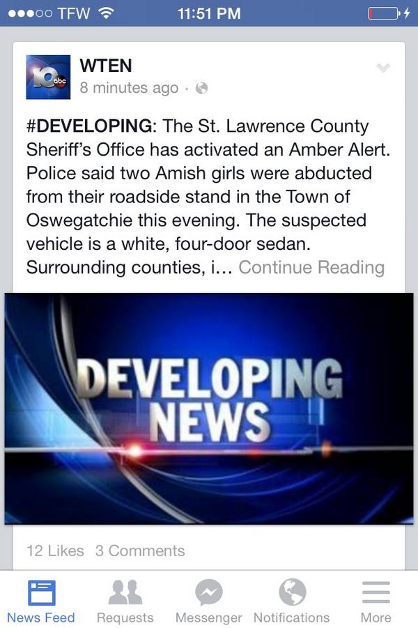 Amber Alert in St. Lawrence County (NY). Two girls abducted. http://t.co/2UTIw5yBlH