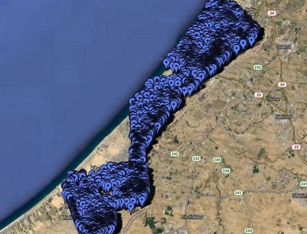 How can you avoid civilians in this picture? RT @Abuzein11: Location of places hit in #gaza http://t.co/4KCOVYlz0b