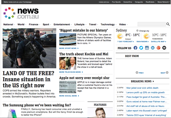 Last one. RT @mebbela: Hey #Ferguson, you've officially made the front page of Australian news. #TheWorldisWatching http://t.co/otkSNulv8u