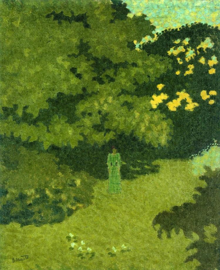 Woman in a Green Dress in a Garden