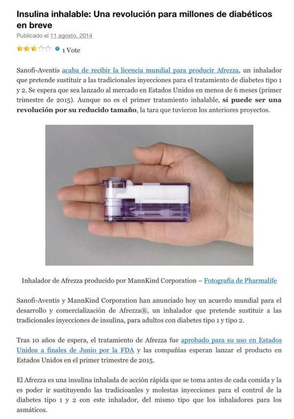 inhalador de diabetes mannkind