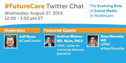 Jump on the #futurecare Twitter chat in 1 hour and share your vision for #socialmedia's role in #healthcare. #HITsm http://t.co/pLe6ABEZSy