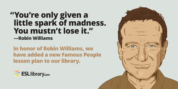 Our new lesson plan honors the life & spirit of Robin Williams. http://t.co/uw8KOJP7Ph (Free until Aug 30, 2014) http://t.co/j1Gd3JX9u4
