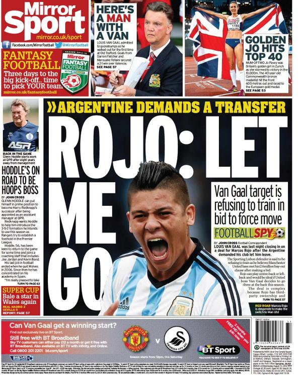 Manchester United closing in on Marcos Rojo as Argentine refuses to train with Sporting [Mirror]