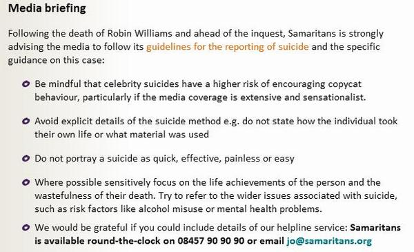 For those interested, these are the guidelines produced by @samaritans on reporting suicide http://t.co/Os7QgWXvz1 http://t.co/BtcXnawSrd