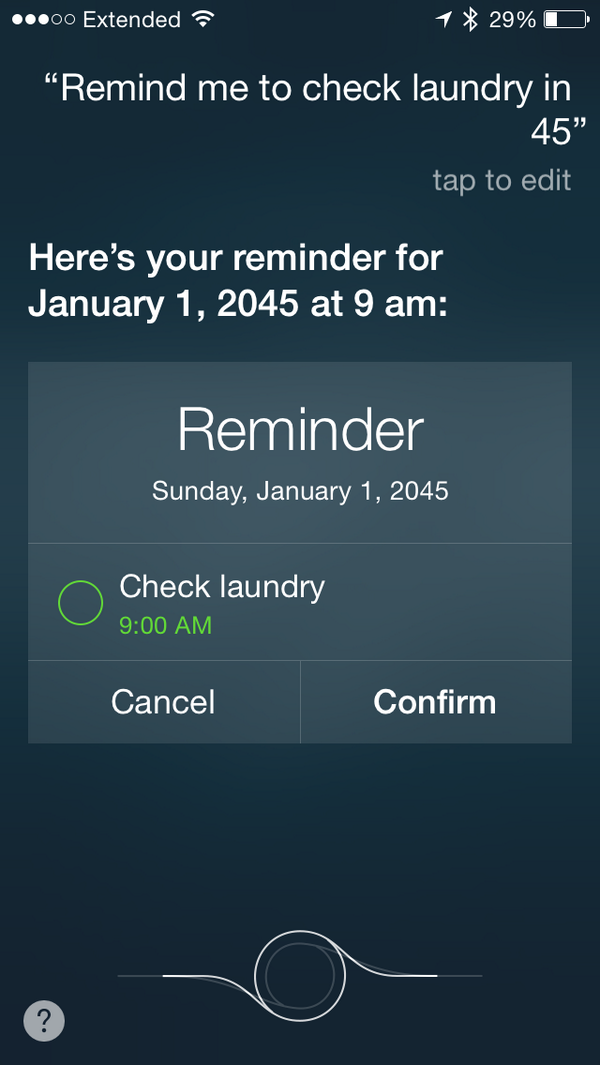 Siri sets reminder for 2045 instead of 45 minutes. Thanks http://t.co/JCb0q8zlrW