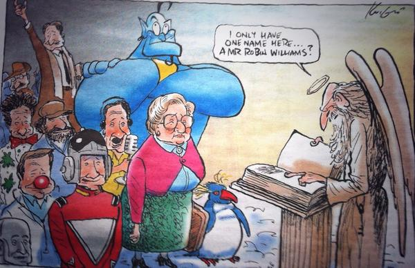 This is the wonderful cartoon, in Australian press, by @Knightcartoons in memory of Robin Williams. http://t.co/70ablFbH4c