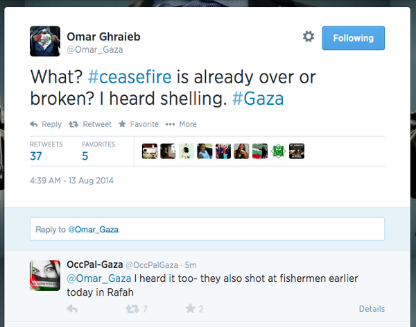 """""""Israel"""" naval gunship fire reported by tweeps at 4.37am in Gaza, 19 hours *before* agreed 72-hour cease-fire ends http://t.co/q6Rp9x66pc"""