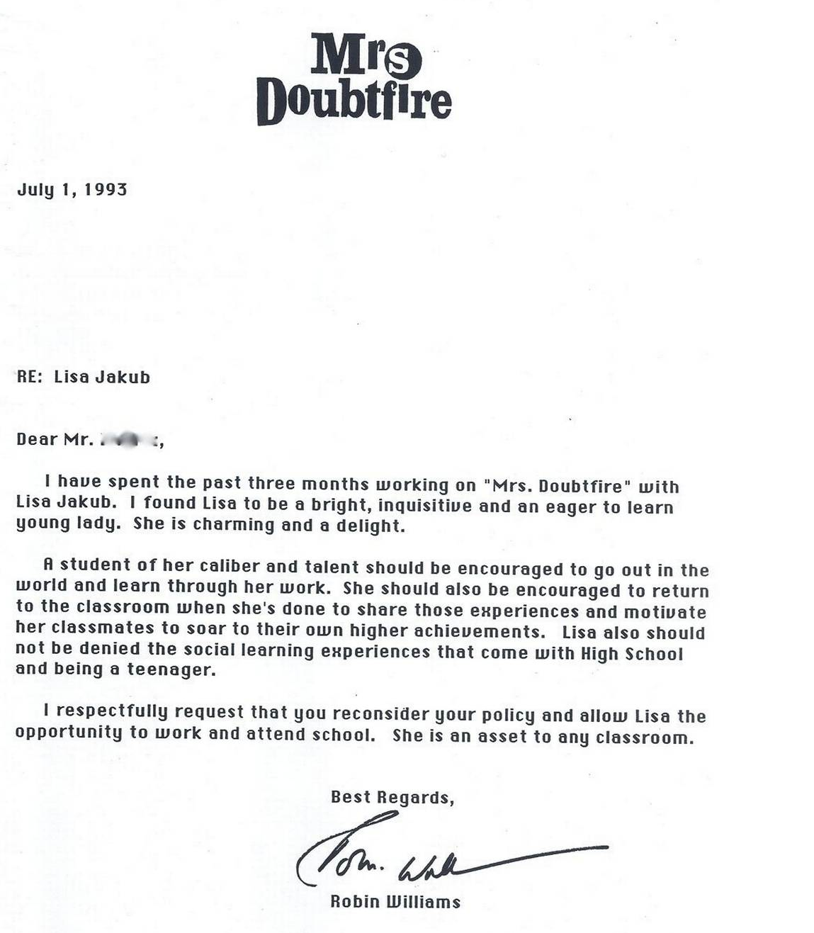 Darren Rovell On Twitter Robin Williams Wrote This