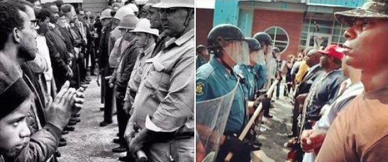 MT @jackfrombkln: These two pictures were taken 50 years apart. Behold our progress. #Ferguson http://t.co/ltaDfef8mA