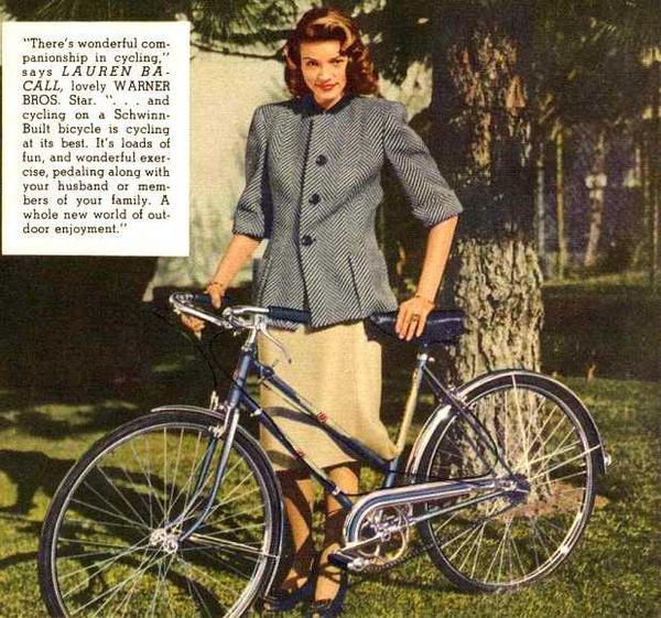 Photo from the 1946 Schwinn Bicycle Company catalog. RIP Lauren Bacall. http://t.co/mrmqfECuKB