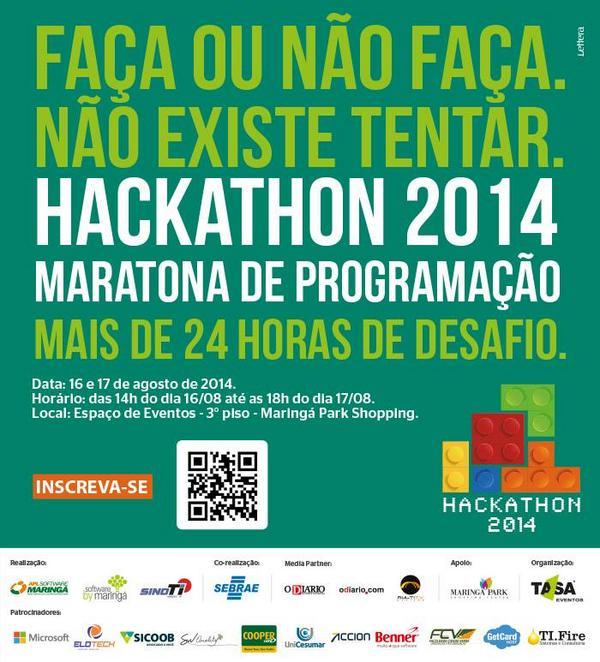 O Mgá Park receberá o 2º Hackathon de Maringá, no próximo sábado (16) e domingo (17) na praça de eventos(3º piso) http://t.co/Do4VbKhlNE