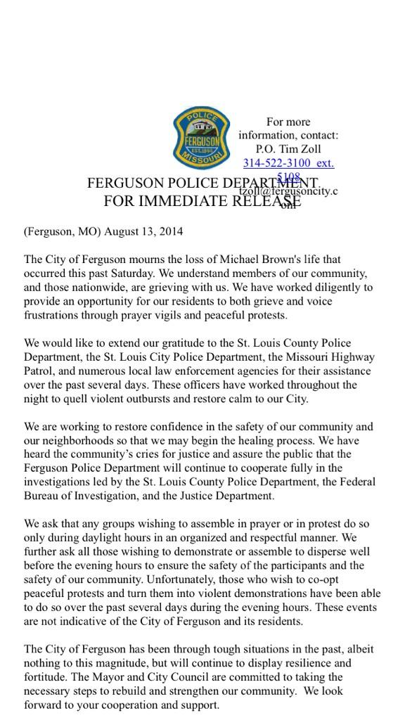 #BREAKING first official news release from #Ferguson PD since death of #MikeBrown @kmov http://t.co/Z27k2DOm7J