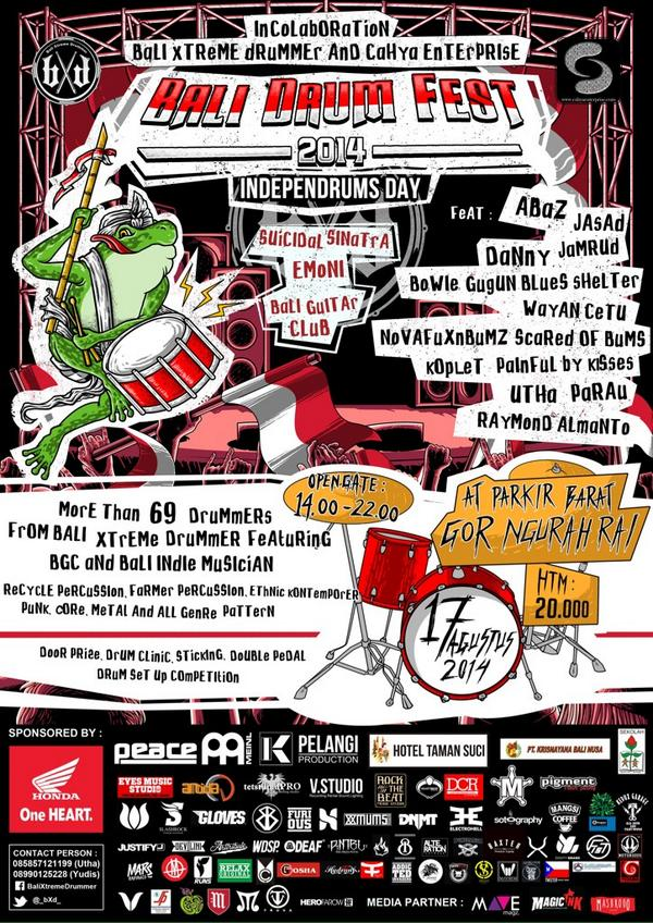 """Bali Drum Fest 2014 """"Independrums Day"""". Come and join with us!! #BaliDrumFest2014 http://t.co/N3JRmkEA26"""