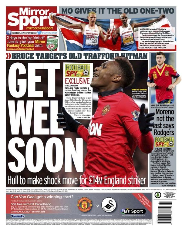 Hull ready to make £14m move for Manchester Uniteds Danny Welbeck [Mirror]