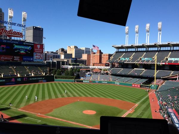 Game 1 crowd. Under 1,000. Looks they are hosting a high school game  #Indians http://t.co/c2KCrRozsd