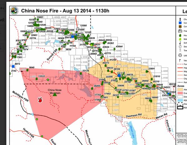 China Nose Burns Lake : Map evacuation China Nose Burns Lake ...