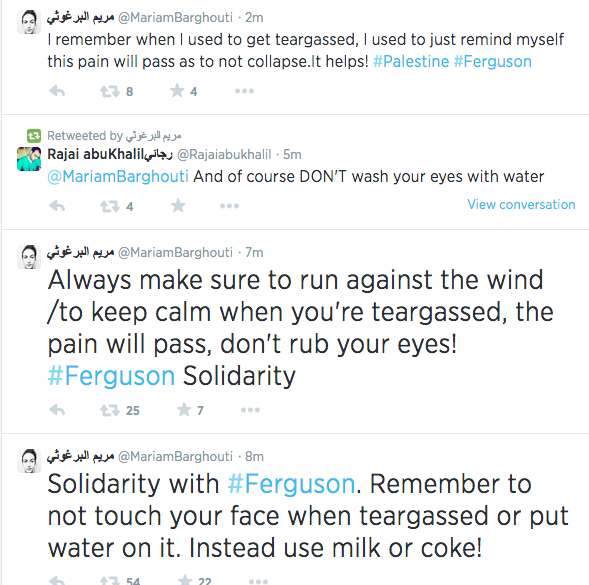 Palestinian citizens are tweeting to the resistors in #Ferguson with support & tips on dealing with tear gas! #gaza http://t.co/5WeHzsqPKN
