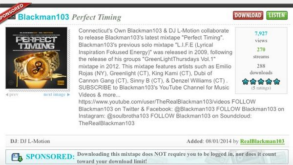Go #download that #PerfectTiming Mixtape by CT's own @Blackman103❗️Add sum #RealHipHop to ya playlist! #DoinNumbers http://t.co/1lfLQCx5Nc
