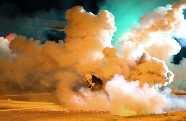 #Ferguson crowd threw rocks, bottles, Molotov cocktails, saw a gun, right before this stepped off http://t.co/qNngeVLtVL