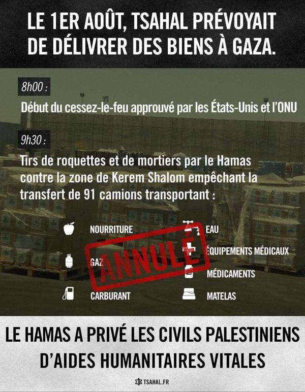 En violant le cessez-le-feu, le Hamas a empêché le transfert de biens humanitaires dans la bande de Gaza