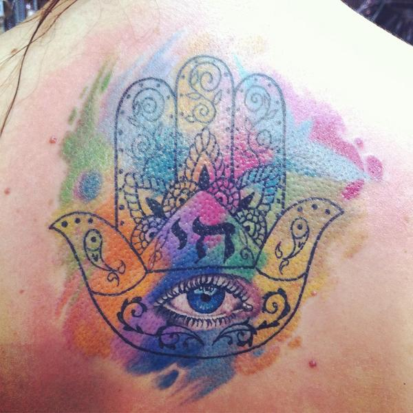 American Tattoo On Twitter Mano De Fatima Acuarela Style By Faber