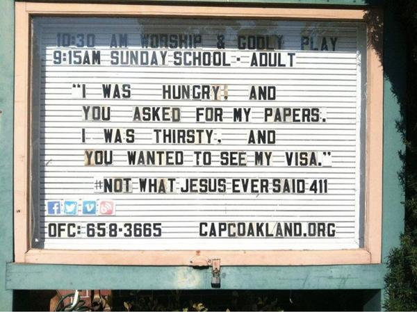 Not your usual bon mot from a church sign; probably from College Avenue Presbyterian Church in Oakland, California