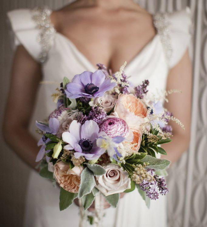 Букет невесты с осокойся, свадебный букет гортензией