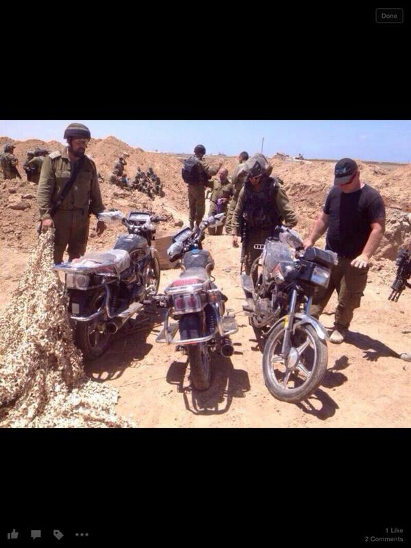 Take a look at these motorcycles found in the tunnels, aimed to help in kidnapping Israelis.  #Hamas http://t.co/iFSrGPq5jr