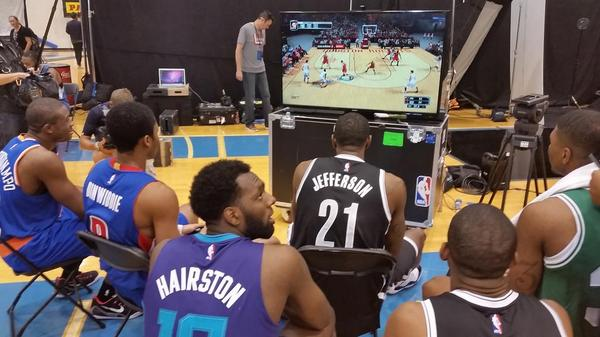 Getting in a game of @NBA2K during the lunch break. #NBARooks http://t.co/AM5c0s7cAP