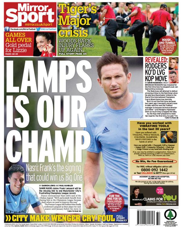 Man Citys Nasri welcomes Frank Lampards Champions League experience ahead of loan deal [Mirror]