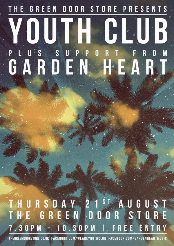 Brighton's finest @gardenheartuk join @weareyouthclub on August 21st! http://t.co/iomhDOUXEa