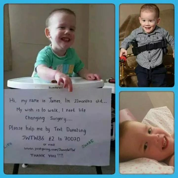 RT @ToriMillsxx: @lemontwittor Please RT ! My son requires life changing surgery so he can walk :) James needs your help & support :) http:…