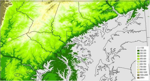 Jordan Tessler On Twitter Elevation Map Of The Baltimore Area Hi