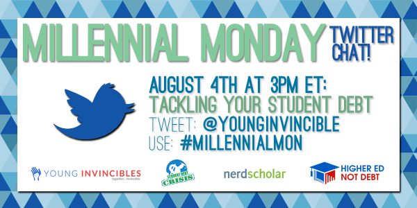 TODAY: Get answers to your #studentdebt questions! Join at 3PM ET/12PM PT w/ #MillennialMon! #higherednotdebt http://t.co/eHjPOGlcgV
