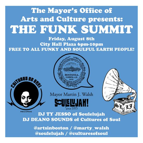 FREE #FUNKSUMMIT at #CityHallPlaza THIS FRIDAY! http://t.co/nL4GmyDIKR @Soulelujah @culturesofsoul cc @artsinboston http://t.co/Lmkggt5R3F
