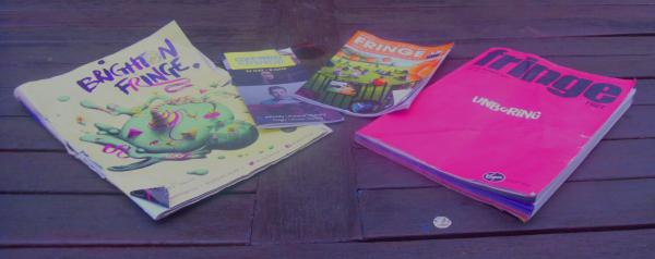 Programmes of Brighton Fringe (medium), Oxford Fringe (tiny), Buxton Fringe (small) and Edinburgh Fringe (big)