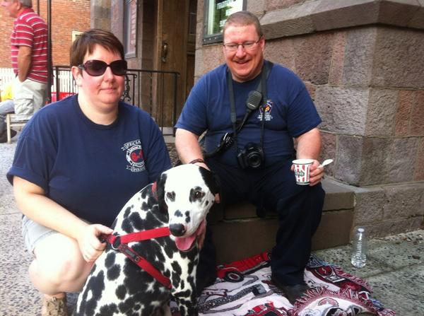 Family portrait: Goodwill firefighter Chip Smale, Alli and Maverick, the sometime fire dog. #mercnno http://t.co/pqDyYmyevZ