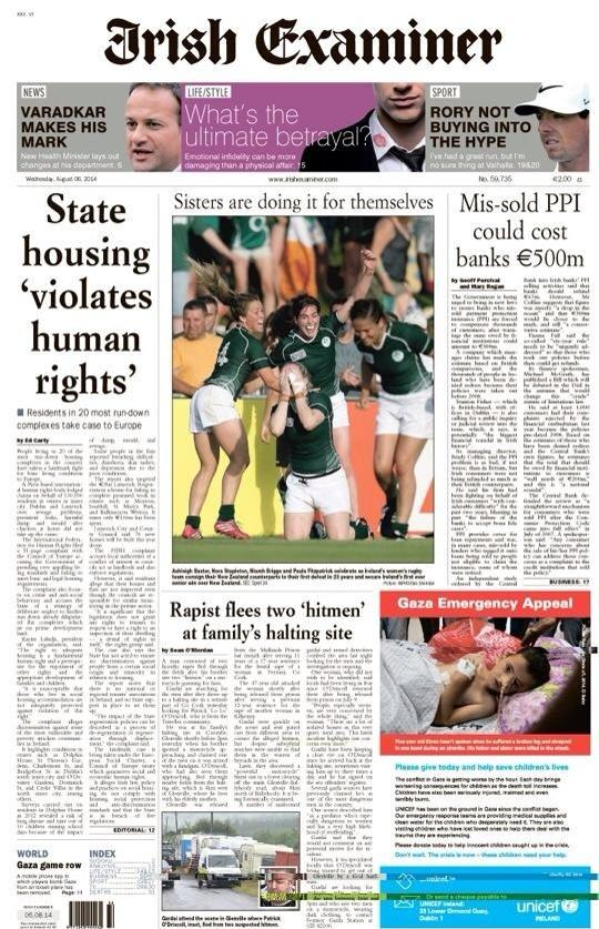 Women's rugby front page news in Ireland and deservedly so. #wrwc http://t.co/2vcWfzYewG
