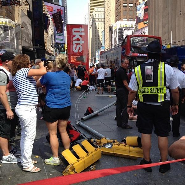 UPDATE: 2 double-decker buses crash in Times Square http://t.co/wrpTL6fsFL  Photo: @jprice141788/Instagram http://t.co/8bXCGLKQ8q