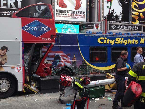 """@DanLinden: Double-decker tour bus hits light pole in Times Square; 15-16 people may be injured http://t.co/YULYy9oQQP"""