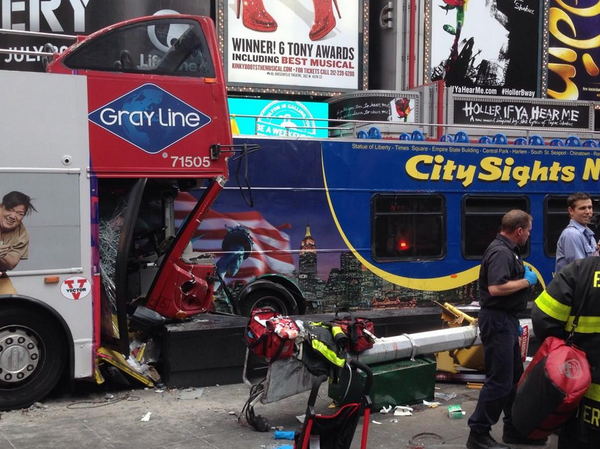 A close-up of the double-decker bus that hit a light pole in Times Square (via @danlinden) http://t.co/lVQBc9GBqP http://t.co/4Cm6tCQHXk