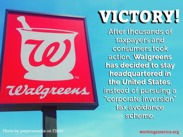 BREAKING: Due to grassroots pressure, @Walgreens is staying headquartered in the United States. #1u http://t.co/0oOrimiRYa