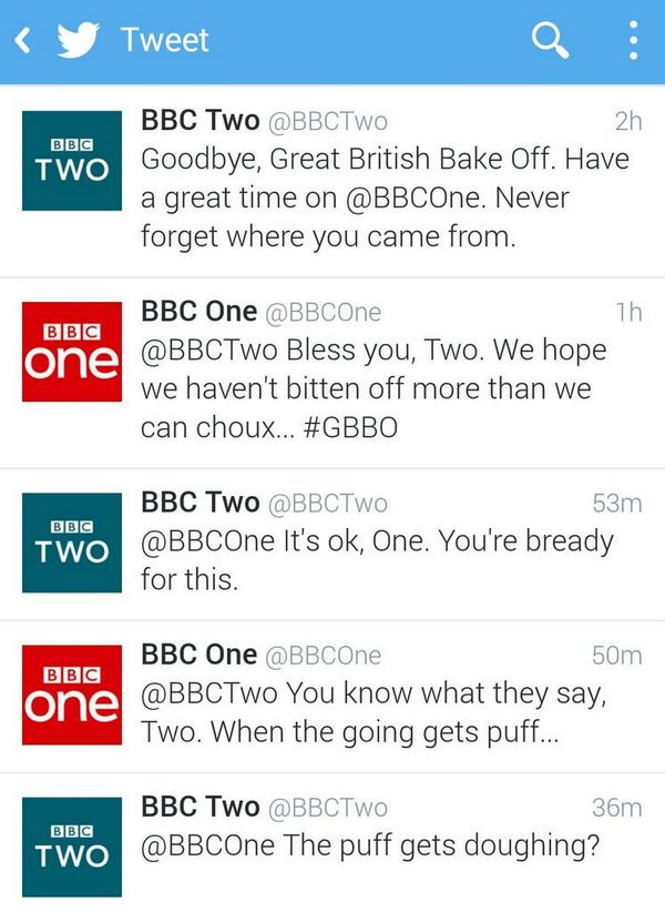 This Twitter exchange between @BBCOne and @BBCTwo is quite brilliant. #GBBO http://t.co/WSE9E6Cp7E
