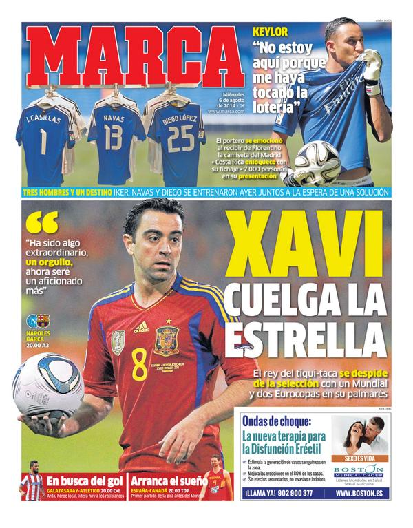 Marca pay tribute to one of Spains all time greats: Xavi hangs up his boots [Picture]