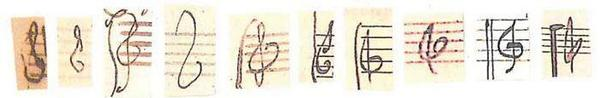 Treble clefs by (L-R) Bach, Haydn, Mozart, Beethoven, Schubert, Mendelssohn, Schumann, Brahms, Debussy, Ravel. http://t.co/m5wyl1wFMt