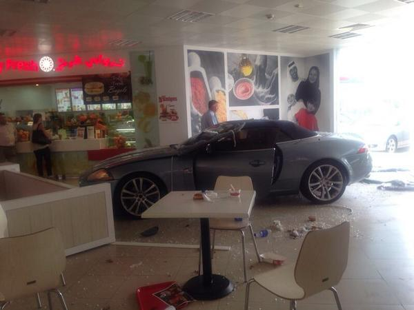 There is a drive thru in Jafza food court today. No, really. Someone drove thru the court. http://t.co/gO8IH3Nzdb