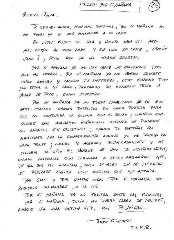 Carta de un enfermo de Alzheimer a su mujer en un momento de lucidez.  (Vía MejoresTwits) http://t.co/vPPbMvwS2L