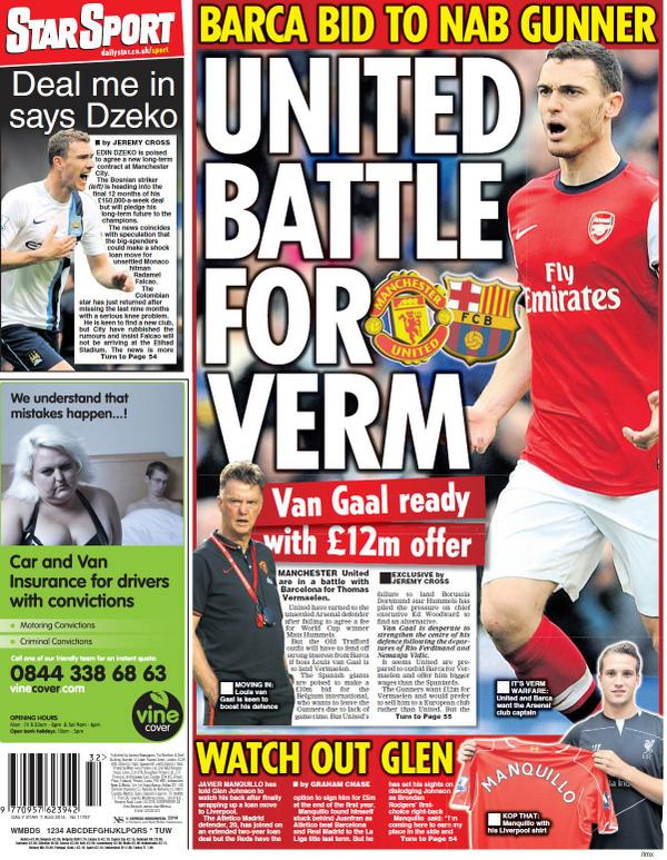 Manchester United to battle Barcelona for Arsenals Vermaelen with £12 offer [Star]