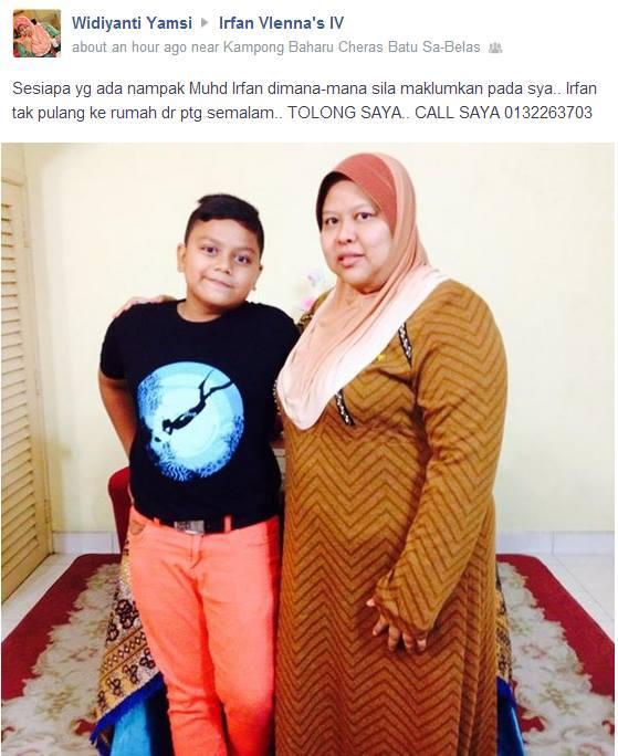 Anak buah @jumiejumie, Muhammad Irfan bin Maqbul Ansari umur 13 tahun hilang sejak semalam 6 Ogos 2014. Mohon hebahan http://t.co/KMgNlqIXu7